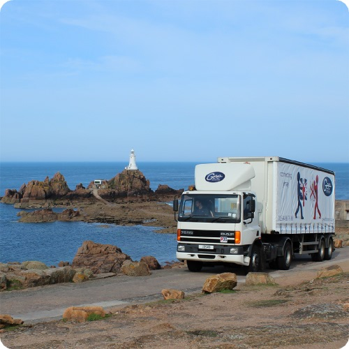Jigsaw livery trailer at Corbiere